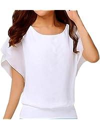 ALIKEEY Blusa De Manga Corta Gasa Casual para Mujer Camisa ChifóN Larga MurciéLago Boda Morado Blanco Mexicanas Fiestas…