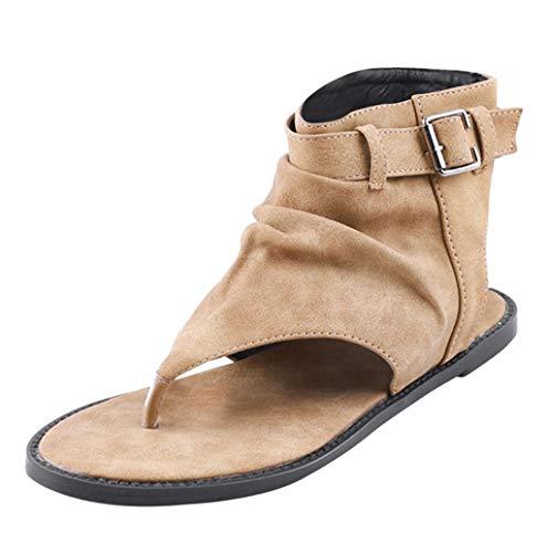 Sandali Donna,Hoopert 2019 Eleganti Donna Estate Bassi Moda Sandali da Scarpe da Piatti,Comfort Toe Sandali Scarpe Camminare Piattaforma con Infradito Scarpe da Donna (35 EU, Nero)