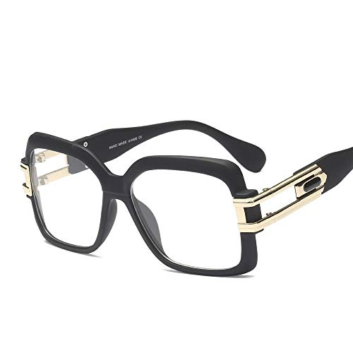 Retro Mode Suqare Fake Nerd Horn Brillen FrameMens and Women Brille (Farbe : Sand Black)