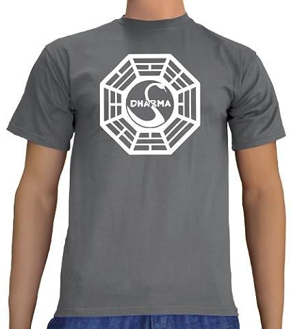 Lost Dharma Logo T-Shirt Darkgrey, L (Fun Schule Halloween Kostüme)