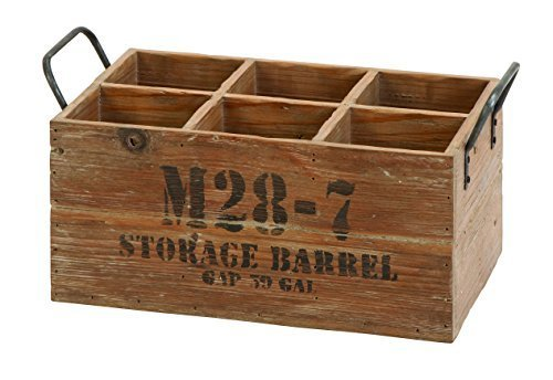 Wooden Barrel 6-Wine Crate by Benzara Crate Barrel