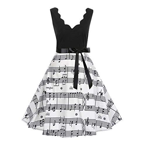 Jiameng vestiti - donna abito con gonna stampata moda - le donne senza maniche moda stampa vintage flare party e abito da sera | s/m/l/xl/xxl/xxxl (xxl, nero)