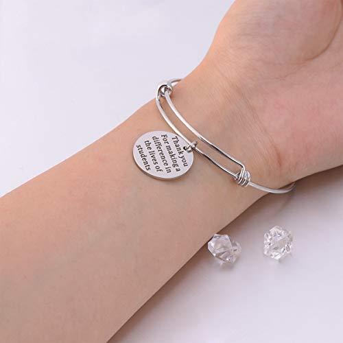 Imagen de amosfun graduation charm bracelet best friends bangle pulsera inspirada brazalete pulseras regalos de amistad joyas gracias por hacer una diferencia en la vida de los estudiantes  alternativa