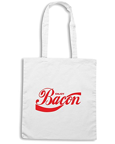 T-Shirtshock - Borsa Shopping ENJOY0014 Enjoy Bacon Bianco