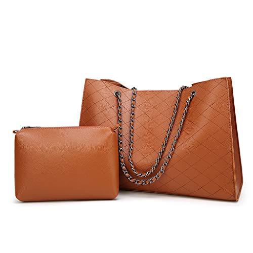 Damen Handtasche aus Leder, modisch, 2-teiliges Set, inklusive Clutch, große Kapazität, verstellbare Schultertaschen mit Geldbörse und magnetischer Schnalle für die Arbeit Tote braun -