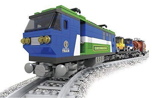 Zug Set Elektrische Lokomotive & Autos Tank Eisenbahn Stadt Creator 8 Schienen #25808