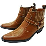 Men's US Brass Tan Classic Texas Cowboy Western Harness Ankle Boots Sizes 6-12