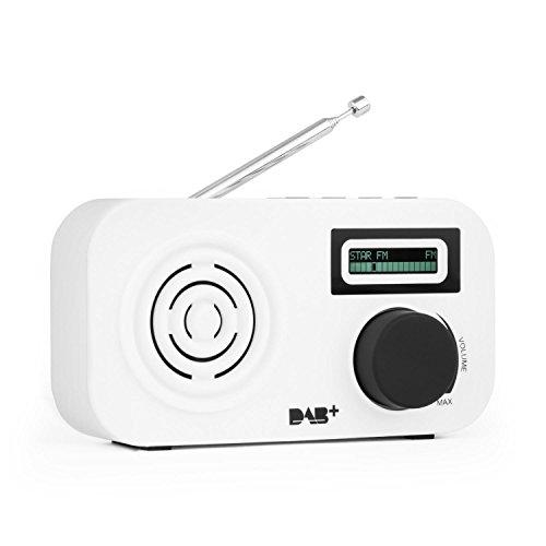 auna Micro-DAB  Mini-Radio  Radiowecker  DAB / DAB+ / UKW - Radio  automatischer Sendersuchlauf  20 Senderspeicherplätze  LCD-Display  DLS-Text  Wecker mit 2 Alarmen  Snooze  Netz- / Battarie-Betrieb  Kopfhöreranschluss  tragbar  weiß