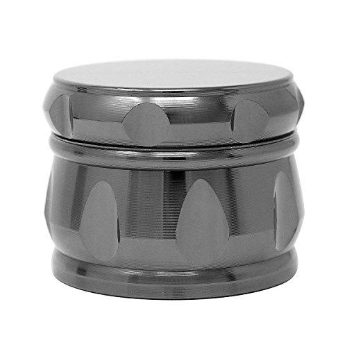 VAMEI Tabak Spice Mühle 4 Stück Zink Legierung Drum Shape Kaffee Weed Herb Grinder mit Plastik Scraper-Gun schwarz (Kitchenaid-spachtel-mixer)