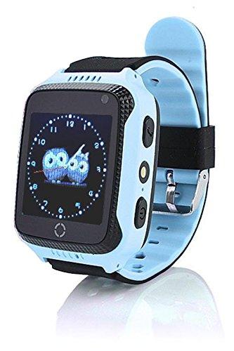 """VIDIMENSIO GPS Telefon Uhr \""""KleineEule - blau\"""", ohne Abhörfunktion, neueste Version, mit sicherem deutschen Server, SOS Notruf + Telefonfunktion, Anleitung + App + Support: auf Deutsch"""