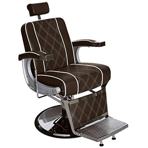BarberPub 3810BR - Sillón de peluquería hidráulico, color marrón