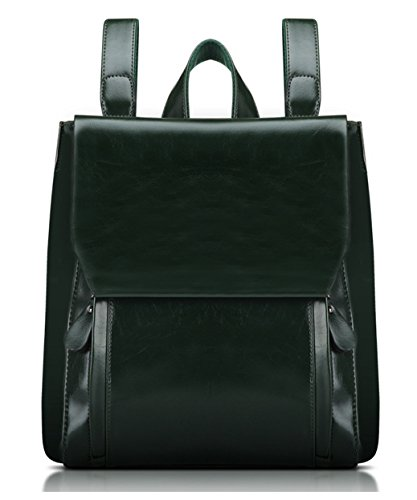 Greeniris Lady PU Leather Casual zaino uso doppia maniglia superiore Borsa scuola dello zaino del sacchetto di cerniera di chiusura borsa per le donne Diaspro