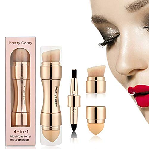 Ensemble de pinceaux de maquillage 4 en 1, pinceaux à lèvres, pinceaux à sourcils, pinceaux à sourcils, pinceaux à yeux Smokey