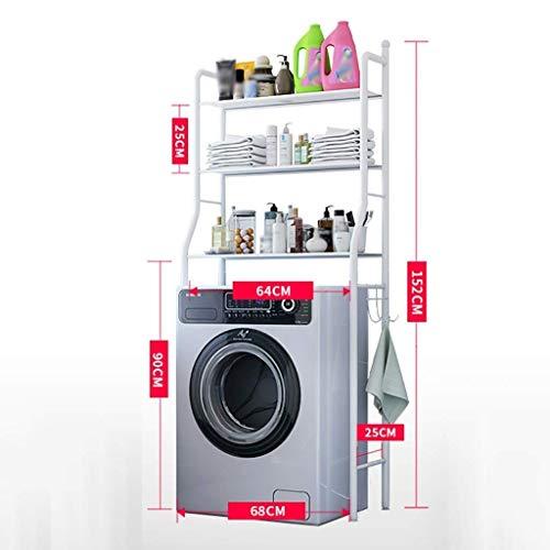 AYHa Regal für Waschmaschine Rack-dreischichtigen Waschmaschine, Boden-Speicher-Halter, Schmiedeeisen Waschmaschine Tür, platzsparende Helfer,Weiß -