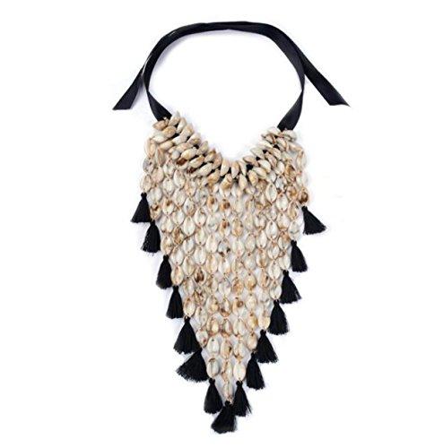 Preisvergleich Produktbild MSNHMU Einfache Multilayer Quaste Halskette Clavicle Chain Charm Schmuck,Black-L