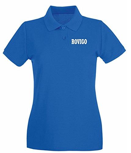 Cotton Island - Polo pour femme WC1004 ROVIGO ITALIA CITTA STEMMA LOGO Bleu Royal