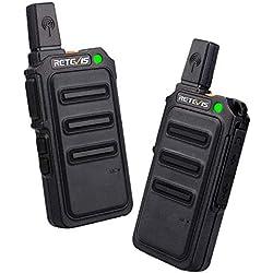 Retevis RT619 Talkie Walkie sans Licence Professionnel PMR446 VOX Squelch Scan Surveillance (2 Pcs, Noir)
