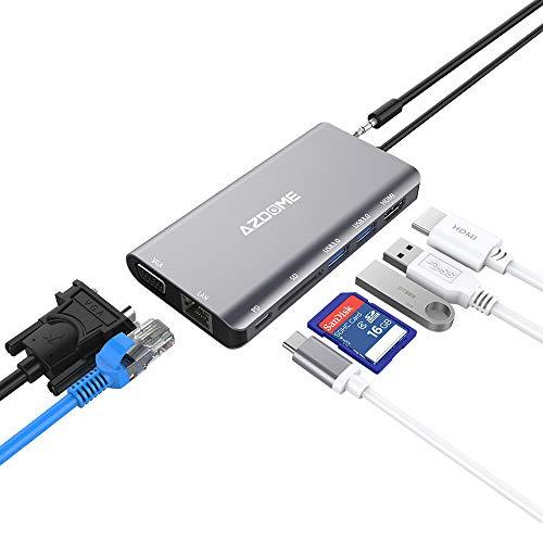 Azdome 8 in 1 Aluminium USB C Hub mit 4K HDMI, 1080P VGA, RJ45, 2 USB 3.0 Ports, Type C PD, 3.5mm Audio, SD Kartenleser USB 3.0 Hub für MacBook, Chromebook, Matebook, mehr Type C Geräte(JF18) - Thinkpad Dock Ii