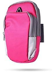 XYQY Sports Running Armband Bag Funda para la Cubierta Correr Universal Impermeable Soporte para teléfono móvil Deporte al Aire Libre Brazo del teléfono Federación de Rusia Rosa Roja