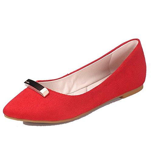AllhqFashion Damen Eingelegt Nubukleder Niedriger Absatz Spitz Zehe Ziehen Auf Flache Schuhe Rot