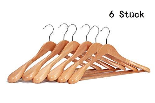 J.S. Hanger Kleiderbügel aus Echtholz, mit extra breiter Schulter, 6 Stück - Holz-kleidung
