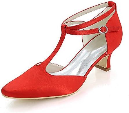 Flower-AGER Cerrado Zapatos de Tacón Zapato T-Strap con Cierre Zapatos de Novia Mujer EU35-EU42