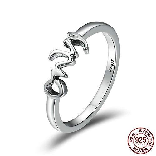 ZHOUYF RING Verlobungsringe 925 Sterling Silber Nur Sie Brief Gravieren Fingerringe Für Frauen Hochzeit Engagement Schmuck Anel, 6#