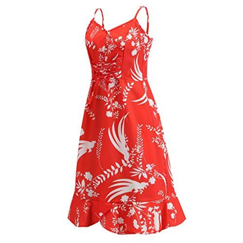 Oksea Damen Leinen Kleid Muster Kurzärmliges Kleid aus Baumwolle und Leinen Damen 3/4 Ärmel Baumwolle Leinen lose Tasche Lange Bohe Print Kleid Floral Kaftan -