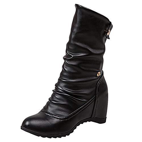 JUSTSELL_Schuhe Damen Stiefeletten,Frauen Kunstleder Ankle Booties Einfarbig Keilpumps Schuhe Casual Warm Stiefel Schuhe