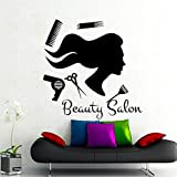 Xbwy Beauty Salon Long Hair Girl Wall Sticker PVC Adhesive Living Room Decorative Wall Decals 44X44Cm