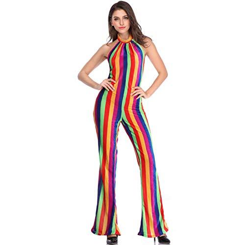 Disco Sexy Jumpsuit Kostüm - Story of life Damen Halloween Kostüm Retro Cabaret Disco Kostüme Sexy Open Back Bekleidung DS Regenbogen Farbe Jumpsuit,M