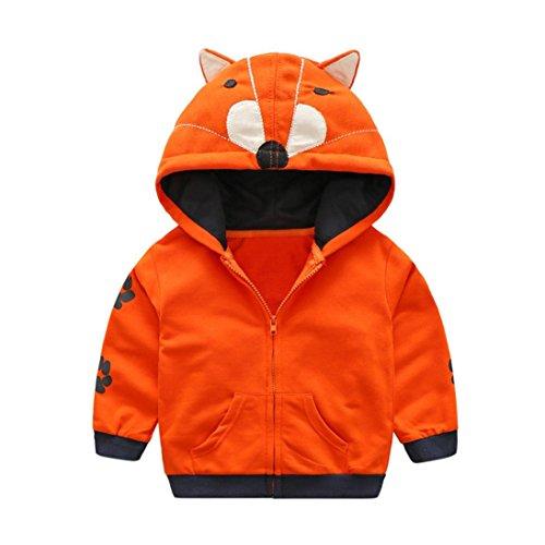 Koly Veste à capuche Vêtements Enfant Bébé Garçon mignonne, Hoody Coat en coton chaud baby boy Tops automne hiver Manteau avec oreille de chat (3 ans, Orange)