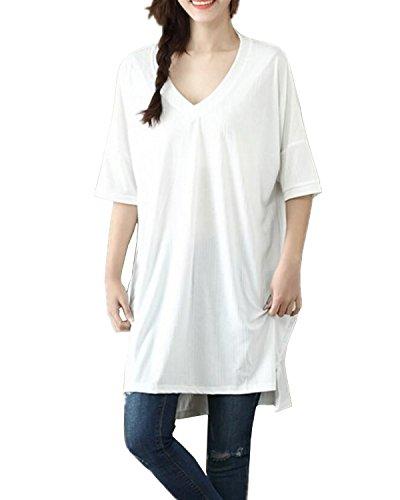 Aeneontrue Damen T-shirt Oversize Tops Rückenfrei Casual Lange Shirt Sommer Loose Kurzarm V-Ausschnitt Hemd Große Größen Bluse Oberteil Tunika Blusenshirt Blusentop Tee Weiß