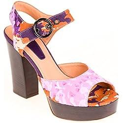 Strenesse Damen Pumps Halbschuh Sandale Leder Rosa Braun Lila, Schuhgröße:39