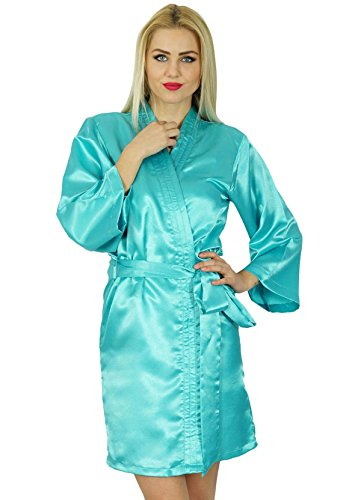 Bimba Frauen Kurz Satin Getting Ready Robe Brautjungfer mit KimonoÄrmeln  Coverup Cyan