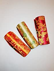 Random Assorted Colors-3pcs Set Satin Silky Fabric Lipstick Case w/Mirror 3.5Lx1.25W Holds 1 pc