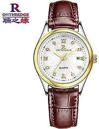 Hermosos Relojes Ultra - Delgada Correa de Cuero Reloj de Cuarzo Reloj de Mujer Universal