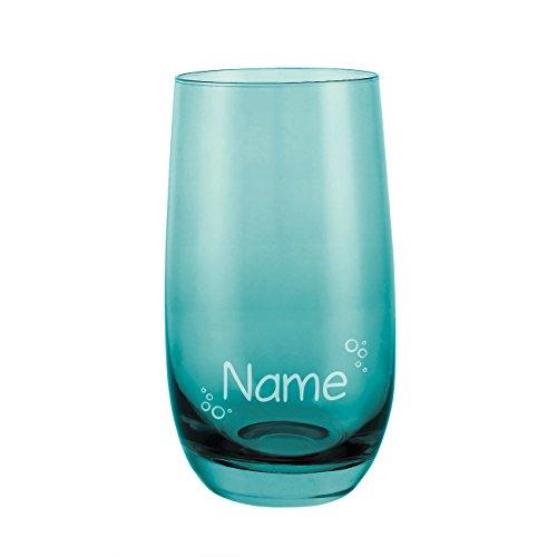 Leonardo Sora Trinkglas mit Gravur des Namens - Motiv: Blasen - Farbe Laguna
