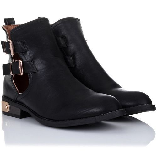 Femme Bottes Manfield/Dolcis Marron Noir Taupe Bordeaux brun clair Dolcis Short Buckle Boot Black