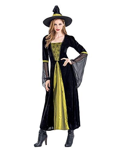 Mit Hut Zauberin Feen Mittelalter Kleid Damen Kostüm Halloween Schwarz XL ()