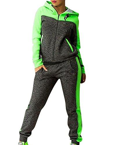 Damen Jogginganzug Jacke Hose Sportanzug Sporthose Fitness Trainingsanzug Grün L