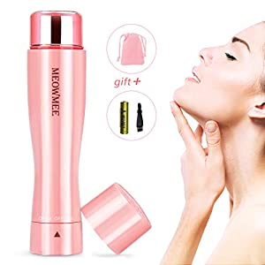 Facial Hair Remover Women, MEOWMEE Flawless Painless Lady Shaver with Built-in LED Light Battery and Pouch Waterproof Electric Hair Remover Mini Portable Lady Trimmer for Unwanted Hair