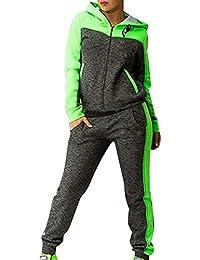 Mujeres Chándales Con Capucha de Manga Larga Pantalones Basculador Sudadera Chaqueta Trajeses Suit