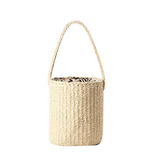 YOUJIA Frauen Stroh Gewebte Handtaschen Sommer Crossbody Drawstring Beuteltasche Freizeit Strohtasche Strandtaschen Shopper (#3 Beige, 18 * 20cm) -