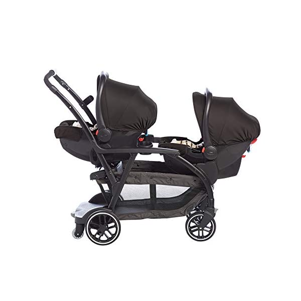 Graco Modes Duo Tandem Pushchair, Shift Graco 27 riding options for 2 children from infant to toddler; click connect attaches with all graco snug ride/essentials infant car seats. suitable from birth to 13kg (approx. 3 years) Two removable, multi-position reclining seats can be positioned rear or forward facing; the built-in bench seat gives your big kid a place to rest; both front and rear seats hold up to 15kgs One-hand standing fold, folds with seats on or off; locking front swivel wheels for superior manoeuvrability; one-step brakes make stopping, and going again, quick and easy 5