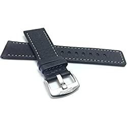 28mm, Black Genuine Leather Watch Band Strap, Comes in Brown or Tan, With White Stitching