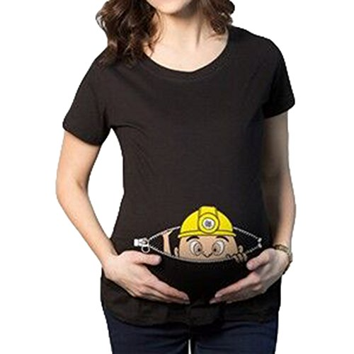 Witzige Süße Schwangere Maternity Damen Umstandsmode T-Shirts Kurzarm Schwarzer Ingenieur/2XL