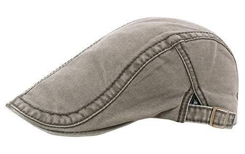 AIEOE - Boina Gorro Plano de Hombre Mujer Unisex Ocio Retro al Aire Libre Hat Flat Cap con Visera Sombrero de Sol Algodón Ajustable - Verde