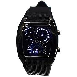 Highdas LED Light Aviation Pilot Speedometer Binary Digital Wrist Watch