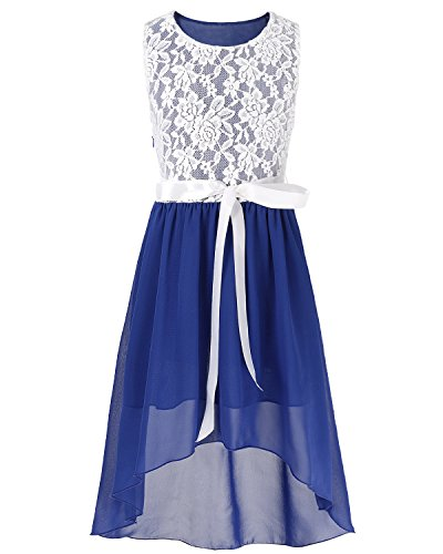 CHICTRY Big Girls' Kids' Chiffon Floral Lace High-Low Dance Prom Party Gown Flower Girl Dress with Belt